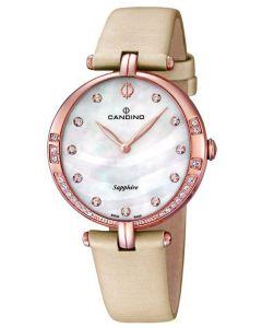 Candino Damen Armbanduhr C4602/1 Leder/Textilband beige Strass
