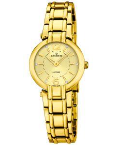 Candino Damen Armbanduhr vergoldet schwarz C4575/2 Strass Saphirglas