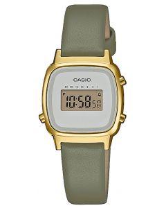 Casio Uhr Retro Damenuhr LA670WEFL-3EF Lederarmband grün