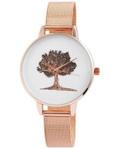 Damenuhr Mesh Armbanduhr rosegolden Edelstahl Baum Lebensbaum
