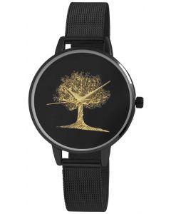 Damenuhr schwarz Mesh Armbanduhr Edelstahl Baum golden Leben