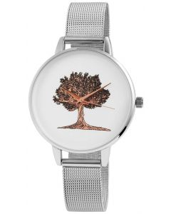 Damenuhr Bicolor Mesh Armbanduhr silber Edelstahl Baum rosegolden Leben