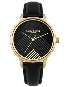 DAISY DIXON Damenuhr Armbanduhr Lederband schwarz DD056BG