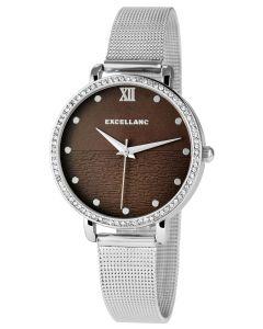 Excellanc Damenuhr mit Edelstahlmeshband Armbanduhr silber braun