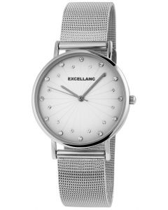 Damenuhr Strass Armbanduhr Edelstahl Mesh Silber Analog Quarz Uhr