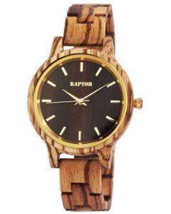 Raptor Damen Uhr Holz Armbanduhr braun gemasert Holzuhr RA10187-007