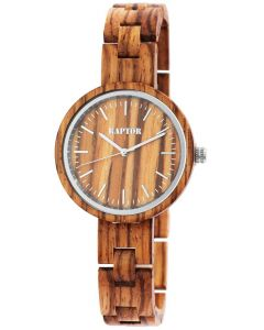 Raptor Damen Uhr Holz braun Zebra Holzuhr RA10190-002