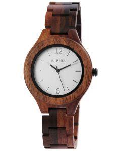 Raptor Damen Uhr Holz Armbanduhr braun gemasert Holzuhr RA10191-002