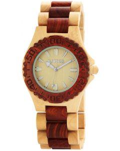 Damen Armbanduhr beige braun beige Raptor Holz-Uhr