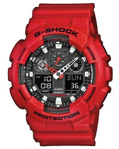 Casio Uhr G-Shock Oversized GA-100B-4AER rot Digital-Analog Uhr
