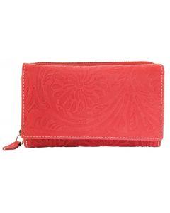 Akzent Wild Echt Leder Geldbörse mit Blumenprint rot Damengeldbörse