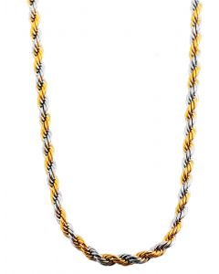 Collier Kordelkette Bicolor Edelstahlkette 70 cm Halskette