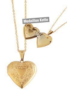 Foto Medaillon Bilder Amulett Herz Anhänger mit Edelstahl-Kette goldfarbig