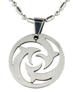 Herren Halskette mit Anhänger Kreis Metall Kugel Kette 48 cm