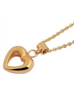 Halskette Herz Anhänger gold-farbig Edelstahl Ankerkette 48 cm