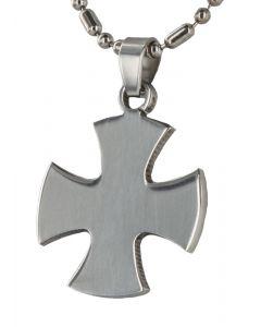 Herren Halskette mit Anhänger Quadro Kreuz Kugel Kette 48 cm silbern