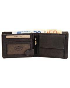 Echt Leder Herren Geldbörse Portemonnaie Anthrazit Querformat offen