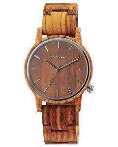 Excellanc Herren Uhr Holz Armbanduhr braun gemasert 2800052-001
