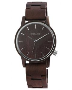 Excellanc Herren Holz Armbanduhr dunkelbraun Uhr 2800052-003