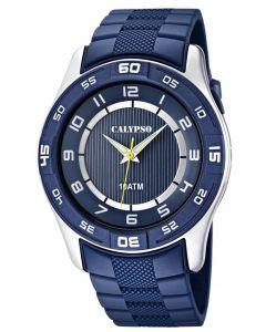 Herrenuhr Calypso by Festina Uhr K6062/2 blau silber Armbanduhr Beleuchtung
