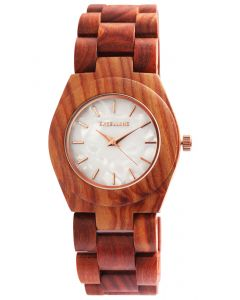Excellanc Damen Uhr Holz Gliederarmband 1800192-002 Holzuhr rotbraun