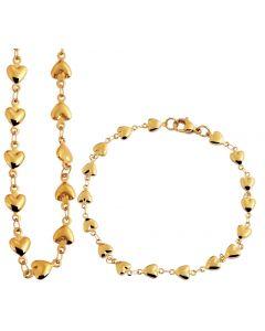 Akzent Halskette Collier Herzchen + Armband Armkettchen Herzen Set golden