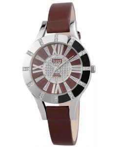 Just Damen Uhr Leder JU10059-002 Armbanduhr braun silber Strass