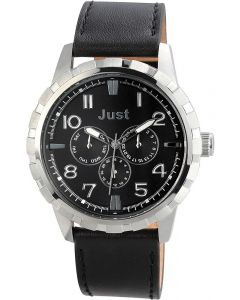Just Chronograph Herrenuhr Armbanduhr Lederarmband schwarz JU20124-001