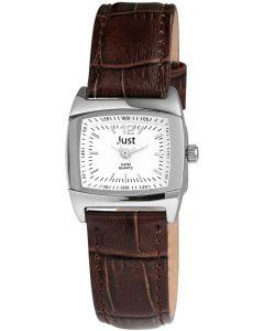 Just Damenuhr Uhr braun weiß Leder 48-S10102L-SL-BR Armbanduhr
