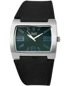Just Unisex Uhr 48-S2325BK-BL Armbanduhr Lederarmband schwarz blau