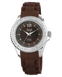 Just Damenuhr Silikonuhr Strass 48-S3858-BR Silikon Uhr braun