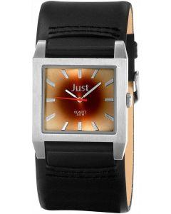 Just Uhr Herrenuhr JU20097-001 Unterlege-Armband Leder schwarz braun
