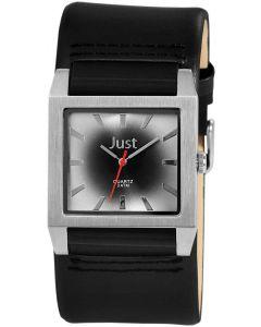 Just Uhr Herrenuhr JU20097-002 Unterlege-Armband Leder schwarz grau