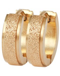 Paar Klapp - Creolen aus Edelstahl IP Gold Akzent Ohrringe 13 mm