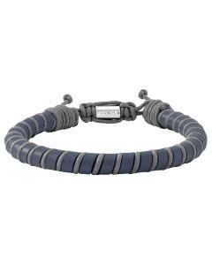 Police Herren Leder-Armband blau grau PJ26486BLN.02