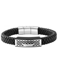 Police Leder Armband schwarz silber PJ26488BLB.01