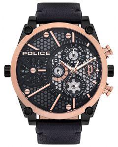 Police Armbanduhr Herrenuhr Multifunktion Lederband schwarz PL15381JSBR.61