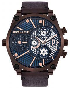 Police Armbanduhr Herrenuhr Multifunktion Lederband braun PL15381JSBZ.03