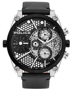 Police Armbanduhr Herrenuhr Multifunktion Lederband schwarz PL15381JSTB.04A