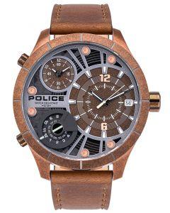 Police Armbanduhr Herrenuhr Multifunktion Lederband braun PL15662XSQR.12
