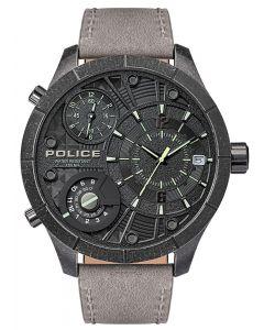 Police Armbanduhr Herrenuhr Multifunktion Lederband grau PL15662XSQS.02