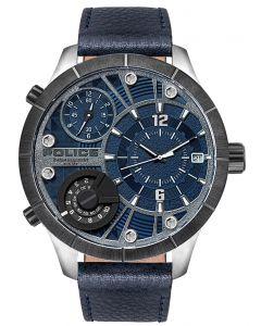 Police Armbanduhr Herrenuhr Multifunktion Lederband blau PL15662XSTU.03