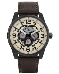 Police Herren Armbanduhr Lederarmband braun PL15663JSU.14