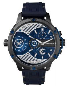 Police Armbanduhr Herrenuhr Silikonarmband blau Multifunktion PL15049JSU.03P