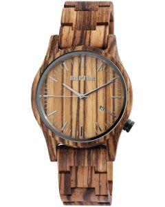 Raptor Herren Uhr Holz Armbanduhr braun Zebra RA20243-001