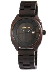 Raptor Herrenuhr Holz Armbanduhr Sandelholzarmband dunkelbraun Datum