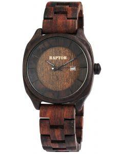 Raptor Herrenuhr Holz Armbanduhr Sandelholzarmband braun Datum