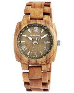 Raptor Herrenuhr Holz-Armbanduhr olivgrün Holzuhr