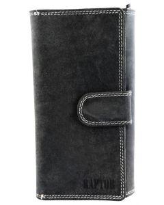 Raptor Damen Geldbörse schwarz Leder Portemonnaie Querformat 18x10 cm