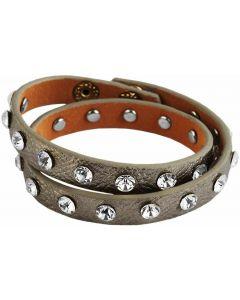Kunstlederarmband Wickelarmband silberfarbig Strass Modeschmuckarmband
